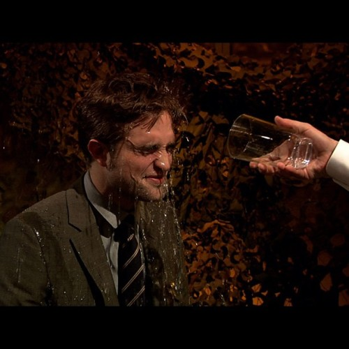 Robert Pattinson got wet tonight on Late Night. #LateNight