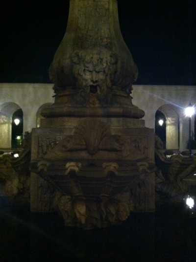 Shot of the water fountain in the patio of the city hall in Pasadena, CA at night. The city hall in Pasadena is so beautiful. And at night there is almost no one around which makes it good for a nice walk.