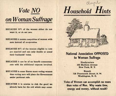 fuckyeahoddities:  Anti-women's rights pamphlet (circa 1910)    Just wow………..