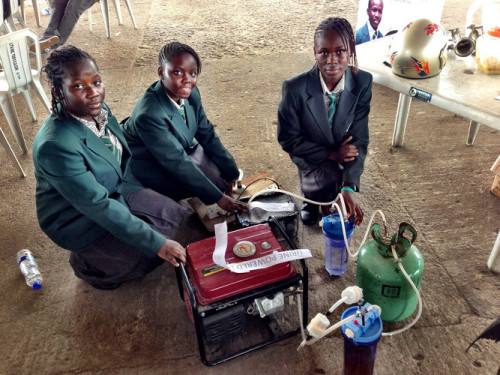 Four African teenagers create power from pee.