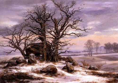 Megalithic Grave in Winter, 1825, oil on canvas by Johan Christian Dahl, Norweigan, 1788-1857.  Dahl was the first great romantic painter of Norway and the founder of the Golden Age of Norwegian painting. He was also a teacher of Ernst Ferdinand Oehme and this painting is in the Museum der Bildenden Kunste in Leipzig, Germany.  A megalithic tomb is constructed of large stones without mortar or cement. They are found in many places in Europe most notably in Britain, Ireland, France and Germany.