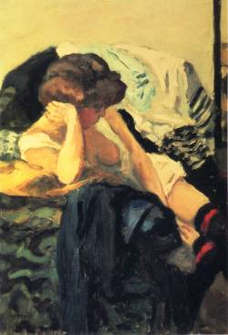 loftcultural:  Pierre Bonnard - The Red Garter (1903-04)