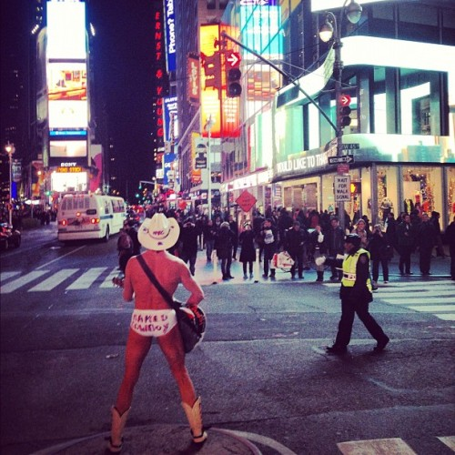 From Coney to this… #nakedcowboy (at Times Square)