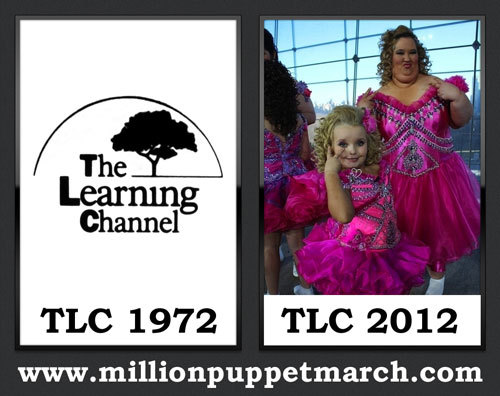 Here's TLC in 1972 and in 2012. TLC was founded in 1972 by the Department of Health, Education, and Welfare and National Aeronautics and Space Administration - NASA as an informative/instructional network providing real education. It was privatized in 1980. Today TLC airs Here Comes Honey Boo Boo.