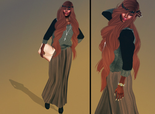 LOOK: HeadPiece:[RA] Hair:Magika Watch:DDL Sweater:Milk.Motion Necklace:Shade.Thone Clutch:Vive.Nine Wedges:HOF