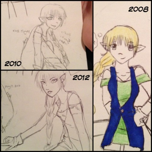 acciotrixiedee:  I like to go through my old sketchbook and redraw things. #PicFrame #art #drawing #redraw #sketch #elf #girl