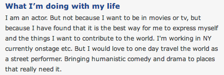 "My friend just sent me this screenshot of an okcupid profile with the caption ""what restaurant do you think he works at"" and I am crying."