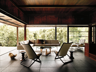 "MID-CENTURY MODERN: Indoor / Outdoor Room featuring Isamu Noguchi's ""Noguchi Table for Herman Miller"""