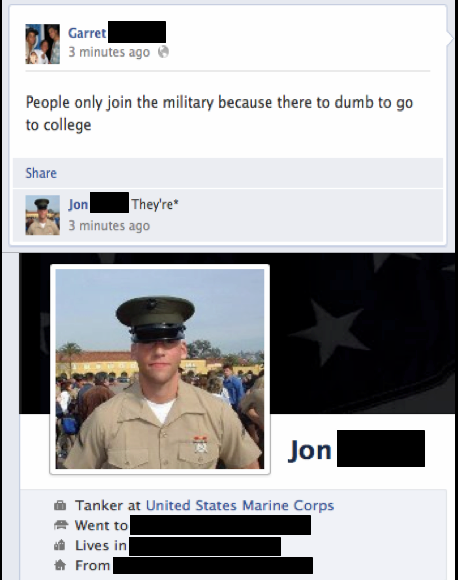 "as a Marine vet, I say ""Fuck You"""