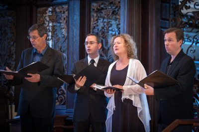 Anne Azéma and members of the Boston Camerata performing at Anne Dhu's Memorial Service in Cambridge MA, October 27 2012 (photo Matt MacDonald)