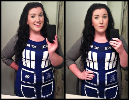 Chubby girl in a TARDIS dress, haaaa-aaaaay! (Excuse my filthy bathroom mirror. Good grief.) Dress from Hot Topic Sweater from H&M
