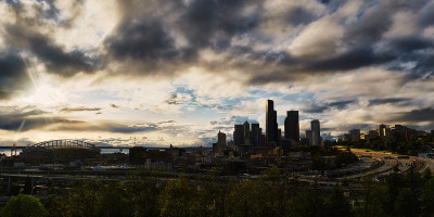 jondong:  Seattle SunsetDr. Jose Rizal Park4.2012 My town. That view coming around the bend on I-5 was something that made me occasionally not mind sitting in traffic, watching the sun set over the Olympics as the city's hills lit up.