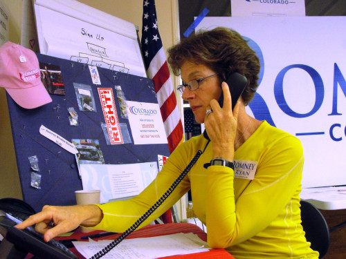 "Jane Meagher makes last-minute campaign calls at the Republican headquarters and Romney field office in Longmont, Colo., at about 5:30 p.m. Tuesday - 90 minutes before the polls closed in Colorado. A Coloradan and Mitt Romney supporter, Jane Meagher volunteered for the Romney campaign until the last minutes of the 2012 election amidst uncertainty over the state's outcome. ""I'm really not sure how Colorado will go,"" Meagher said at the Longmont Republicans headquarters Tuesday around 6:00 p.m., four hours before AP would project that Colorado's majority supported Barack Obama. ""All you can do is just hope that it's going to go our way."" Meagher attested to being one of the millions that crossed their 2008 party decision and voted for Romney. ""I have to tell you, I voted for Obama last time. I lived in Chicago, there was such a groundswell for Obama in Chicago. I believed in the hope and change."" The Longmont resident had never volunteered for a campaign before September, when she began talking to people about Romney and switching allegiance. ""I think that helped me, knocking on doors, to be able to say, 'I voted for Obama last time.' I don't want to say that too loudly in here,"" she said in the snug headquarters. ""I think people maybe trusted me that it's not all in one camp always. I could say 'I understand your indecision, because I was once an Obama fan.'"""