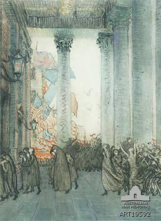 Rejoicing and remembrance, Armistice Day, London, 1918, by Vida Lahey