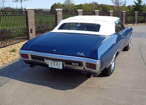prova275:  Fathom Blue… 70 SS Chevelle convertible  Great muscle car in a beautiful color.