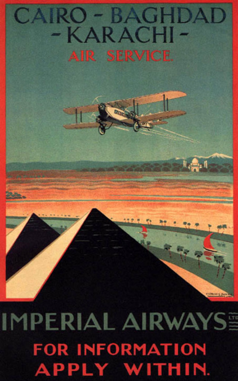 One Vintage Pakistani Travel Item A Day: Imperial Airways Cairo-Baghdad-Karachi Air Service poster  Vintage Collections / One Vintage Pakistani Travel Item A Day / Pinterest