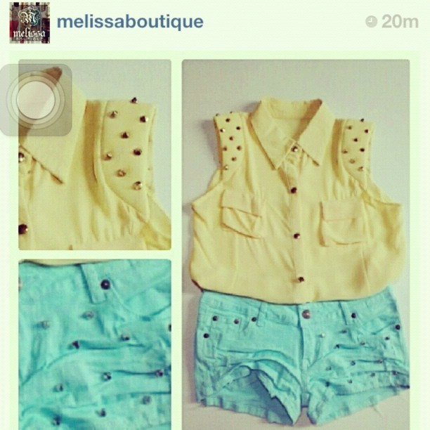 Spiked tops and studded shorts available now @ Melissa boutique 😱😁 @melissaboutique