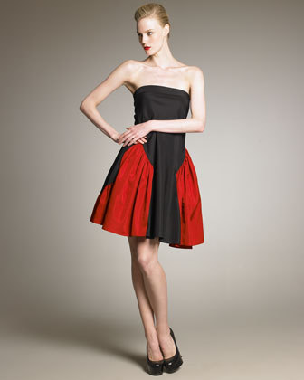Yves Saint Laurent Two-Tone Taffeta Dress