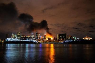 Photograph of the huge fire in Old Montreal last night. (Canadian Press)  via Twitter