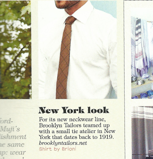 Monocle - October 2012  The Brooklyn Tailors Handmade Necktie in Toffee Brown and Navy Check is featured in Monocle's 2012/13 Style Directory.