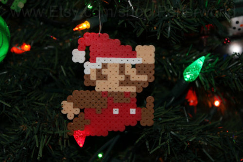 it8bit:  8bit Super Mario Ornament Available on Etsy for $5.00 USD Created by PrincessPerler