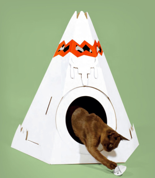 fredflare:  Even house cats need their own humble abode. Say hello to the cutest feline fort, the Cat TeePee!