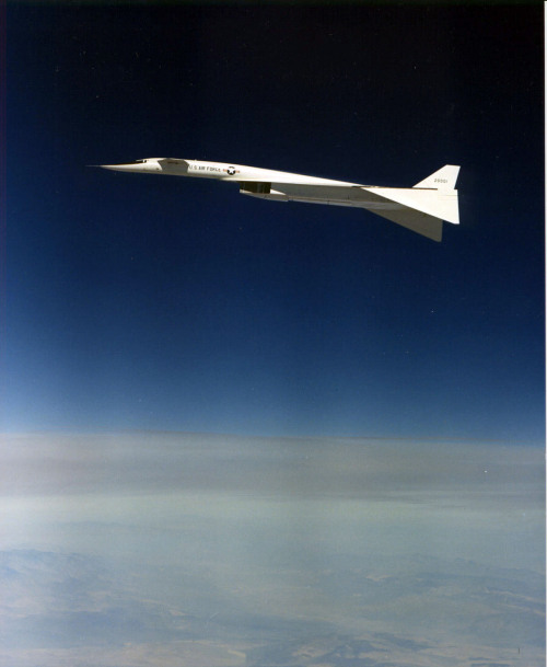 North American XB-70A Valkyrie in flight with wings drooped to 65 percent position. (U.S. Air Force photo) <3<3<3<3<3