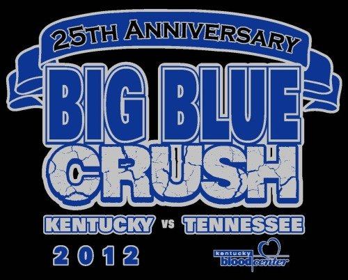 Last year, Kentucky Blood Center notched a second straight Big Blue Crush victory. This year, we've got our sites set on three in a row. Making things even more exciting, this is the 25th anniversary of our competition pitting Kentucky fans against Tennessee fans. We'll be celebrating with: Commemorative black T-shirt Bleed Blue wristbands Coupon for a free small McDonald's McCafe beverage Daily prize drawings: You could win a $250 Visa gift card, popcorn machine, Kindle Fire, Bleed Blue Basket, or iPad Mini! Visit our website for more details. Donate blood with KBC Nov. 12-16 to help keep the Big Blue Crush trophy in Kentucky … where it belongs!