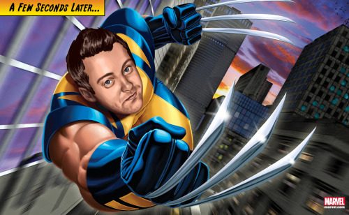 "Shawn ""Ain't takin' no guff!"" as Wolverine. It's our Marvel Custom Portrait of the Week! Do you have what it takes to be a superhero? CLICK HERE"