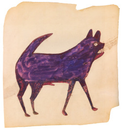 Dog (ca. 1940) by Bill Traylor. From Bill Traylor – Drawings from the collections of the High Museum of Art and the Montgomery Museum of Fine Arts, published by DelMonico Books (2012).