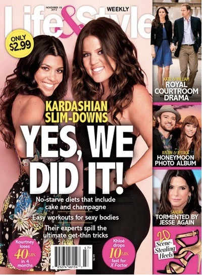 Check out Kourtney Kardashian and Khloe Kardashian on the latest issue of Life & Style. The two has dropped significant weight and Khloe wants to lose more. Kourtney is down 40 pounds and Khloe only down 10 but both are looking great. Good job ladies!