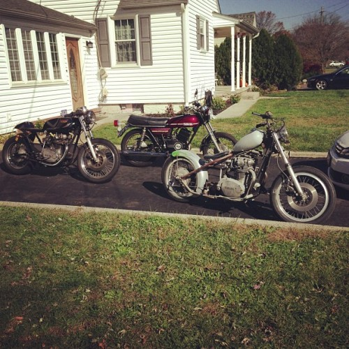 Army of yammys. #yamaha #xs650 #r5 #rd350 #caferacer #bobber #vintage    #motorcycle  (at Pat doodys house of ill repute)