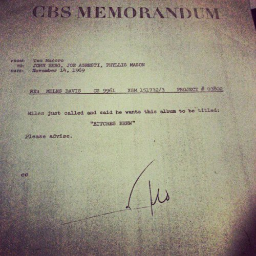 A memo from record producer Teo Macero to Columbia/CBS Records executives prior to the release of Miles Davis' groundbreaking album, Bitches Brew.[via]