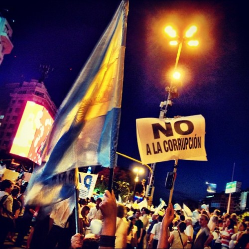 instagram:  300,000 Protest Government in Buenos Aires  Spotlight To see more photos from last night's protest, search the #8n hashtag, and check out photos from the Obelisco & Plaza de la República.  Last night, hundreds of thousands of people filled Buenos Aries, Argentina's Plaza de Mayo to protest President Cristina Fernández and her Peronist Party, which has a ruling majority in both houses of Congress.  The event was organized and promoted through social media—more than 1800 photos have been tagged with #8n—and tapped into widespread discontent about crime, the direction of the economy, and possible plans to end presidential term limits.