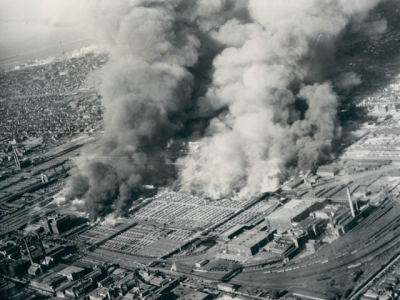 Aerial view of the Stockyards fire, 1934, Chicago.