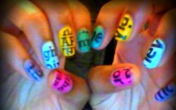 #FlashBack Friday DIY ( multicolour magazine nails )
