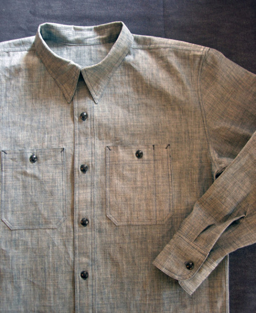 slowboatdeadstock:   Our Tab Collar Workshirt made from Japanese Chambray.