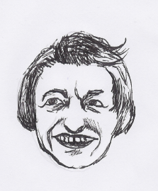heartbarf:  Oh no big deal, just a somewhat horrifying sketch of Ayn Rand for Complicated reasons.   Could this be an illustration for It's Complicated #1? Stay tuned to find out…