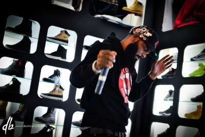 "Stalley Performing at Sneaker Villa yesterday for his release of his new clothing line ""Blue Collar Gang"" More photos at dburtonphotos.com/stalleybcgrelease"