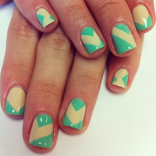 #Geometric #mint and #nude #nails for @monie49