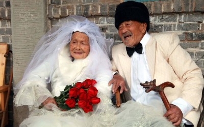 The opposite of Chinese babies. This couple has been together for 88 years, and just now had their wedding photo taken. They're both over 100 years old! From reddit.