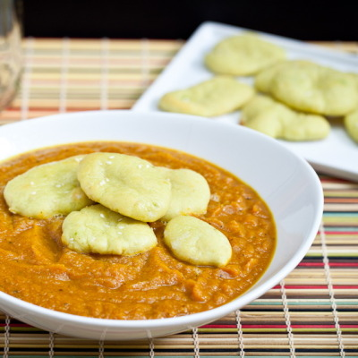 "Curried Carrot Soup w/ Avocado Naan ""Croutons"""