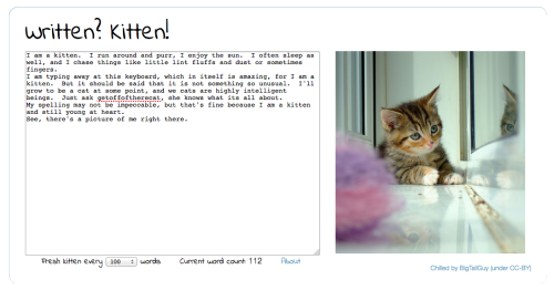 timholtorf:  Best. Web based! Writing utility! Written? Kitten! Write 100 words, get a picture of a kitten.  Sure, it has no editing capabilities, no chapter layout, no character setup, no scene settings.  But it makes up for all of that with kittens! http://writtenkitten.net/  Guys, this is the best thing I've ever discovered.