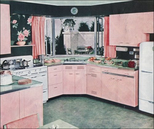 Pink kitchen, 1950s