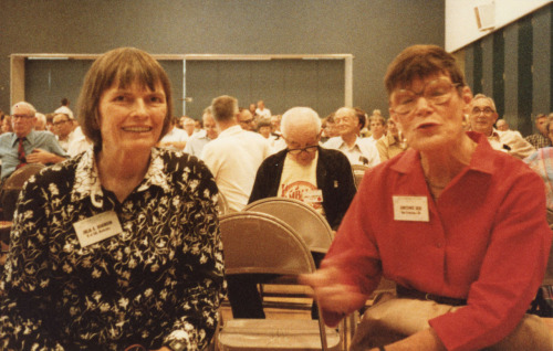 Sisters Julia Robinson (1919-1985), left, and Constance Reid (1918-2010) were photographed by Halmos in July of 1984 in Eugene, Oregon. Constance Reid was the well-known author of popular books about mathematics, most notably From Zero to Infinity: What Makes Numbers Interesting (MAA, 1961), and of biographies of mathematicians, including E. T. Bell (or John Taine), Richard Courant (photographed on page 10 of this collection), David Hilbert, Jerzy Neyman (photographed on page 38 of this collection), andJulia Robinson. Another photograph of Julia Robinson appears on page 30 of the collection, where you can read more about her. (Sources: MacTutor Archive, MAA obituary: Constance Reid).   Who's That Mathematician? Images from the Paul R. Halmos Photograph Collection