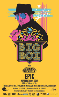 Here is the poster I designed for tonight's Big Boi concert in Minneapolis.