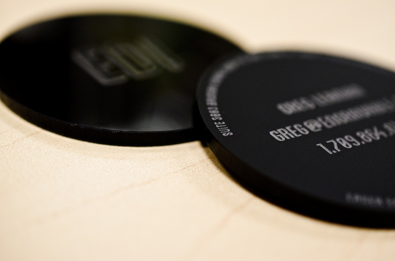 Black acrylic business cards. Matte front, gloss back.