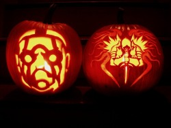 My wife and I carved these pumpkins for Halloween 2012. My wife's pumpkin is the Psycho from Borderlands, and mine is Tyrael, Archangel of Justice from Diablo 3.