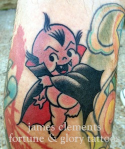 halloween banger tattoo by james clements, fortune & glory tattoos.