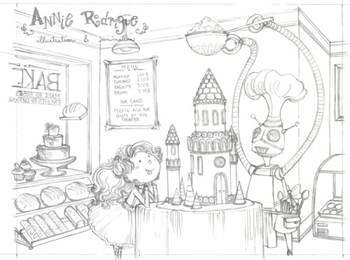 """Gingerbread Castle"" - sketch This year's holiday greeting card will be all about robots, cute girls and yummy goodness! I'm thinking lots of bright colors and nice textures. I can't wait to color this one next week!"